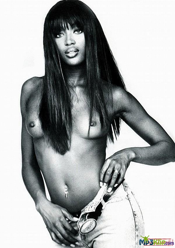 Naomi Campbell Showing Her Nude Breasts In A Sheer Black Gown
