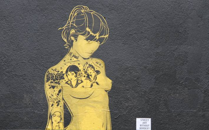 streetart, girl, tattoo, stick