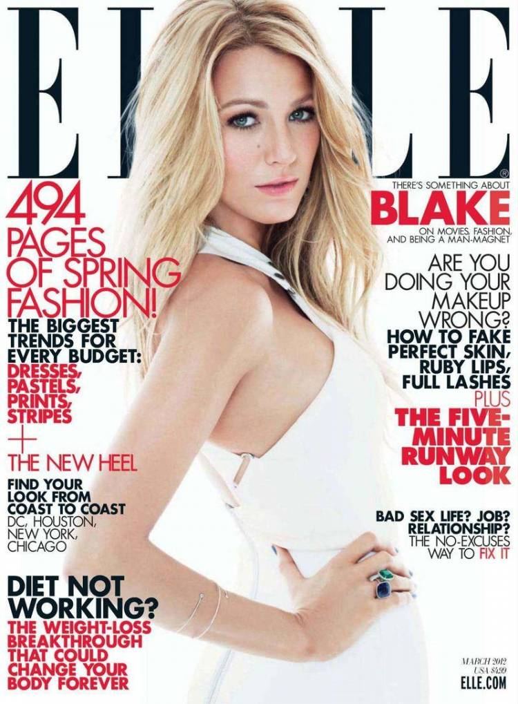 Голая Blake Lively - Elle March 2012  USA