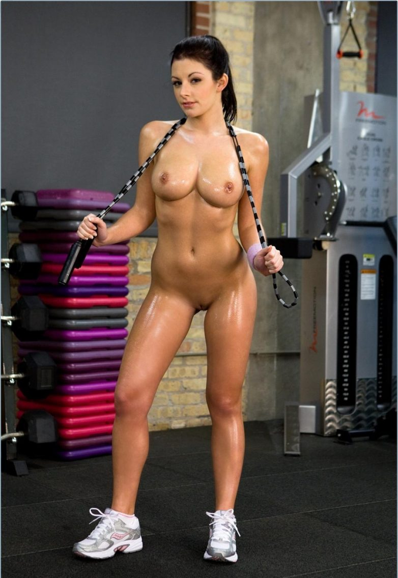 Nude female fitness models workout