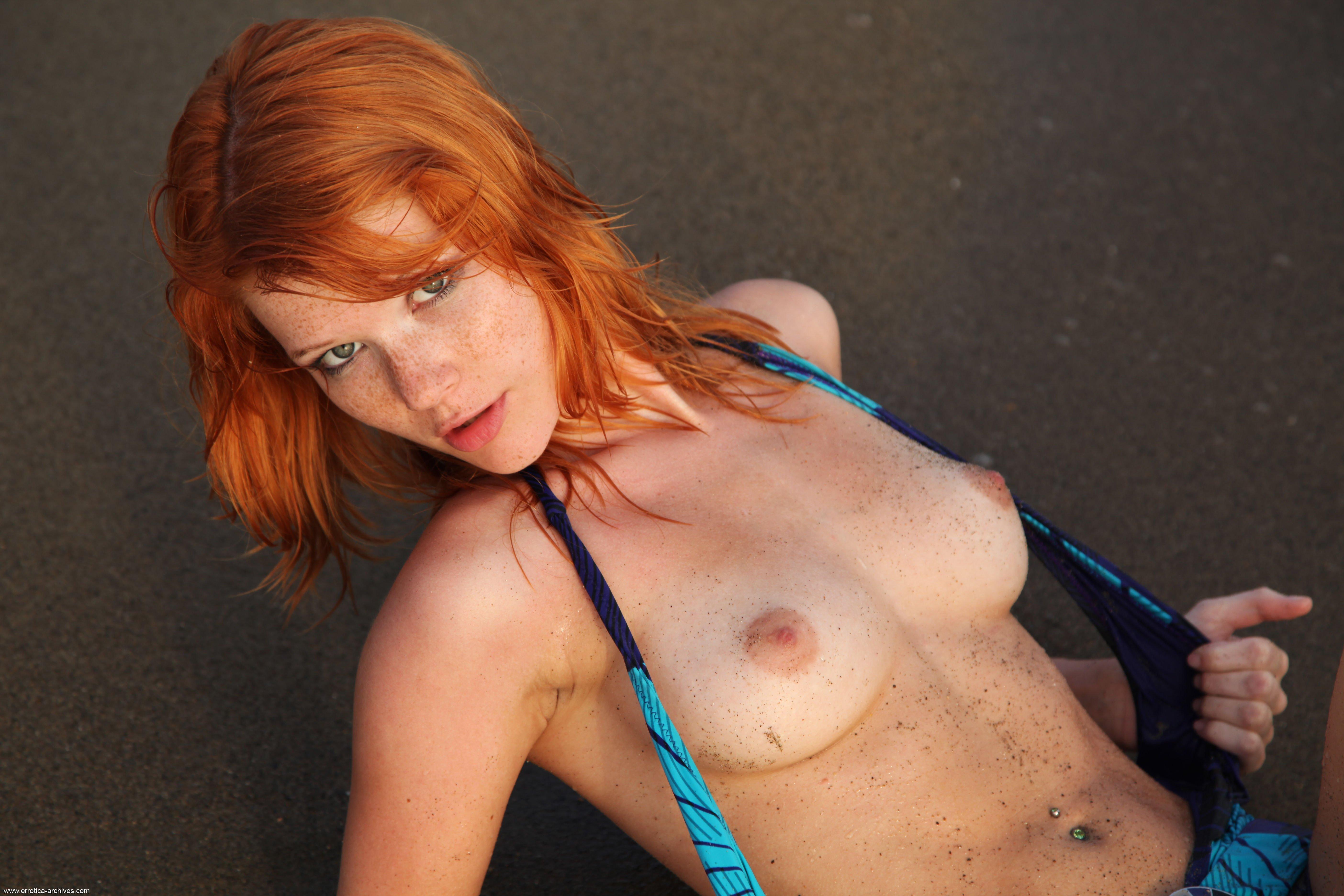 Draped redhead